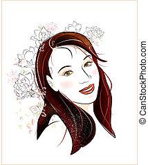 girl, portrait, brunette, fleurs