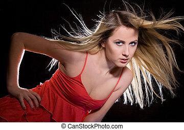 girl, portrait, cheveux blonds, robe, voler, rouges