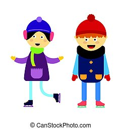 Girl portrait fun happy boy skating expression cute cartoon character little kid vector illustration.