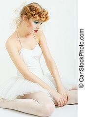 girl, portrait, lèvres, dress., -, ballet, tutu., maquillage, élégant, rouges, beau, mode, hairstyle.