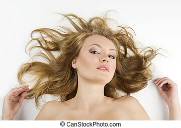 girl portrait laying on white