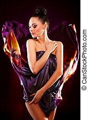 girl, portrait, modèle, robe, brunette, birght, clair, fond, sensuelles, isolé, maquillage, noir, coloré, voler, poser, beau, mode, sexy