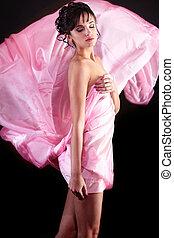 girl, portrait, modèle, robe, brunette, clair, fond, sensuelles, isolé, maquillage, noir, coloré, voler, poser, beau, mode, sexy