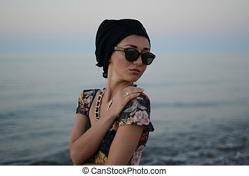 girl portrait on a background of the sea