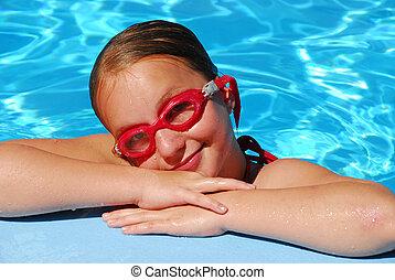 Girl portrait pool