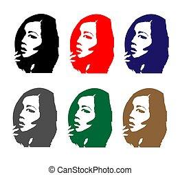 Girl portrait set colored asian
