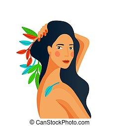 Girl portrait. Spa therapy, organic hair or skin care, makeup concept. Cartoon flat design. Spring or summer season. Vector