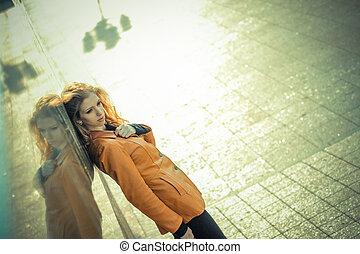 girl, portrait, spring., hipster, parc, dépression, beau