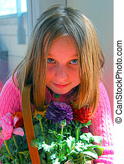 Girl portrait with flowers