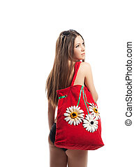 Girl portrait with red beach bag