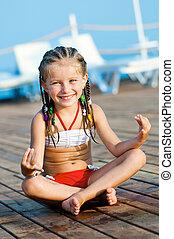 girl, pose, yoga