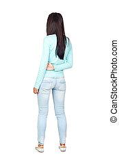 Girl Posing Backwards Isolated over White