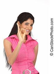 Girl posing for best gesture