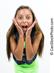 Girl posing in front of the camera with cheerful expressions