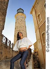Girl posing in Havana lighthouse