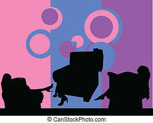 girl posing in the armchair vector