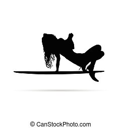 girl posing on surfboard silhouette vector
