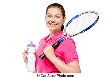 girl posing with a racket after a workout on white background