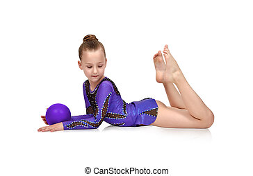 girl posing with blue ball