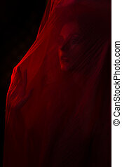 Girl posing with red fabric - Girl posing with red cloth....