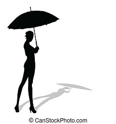girl posing with ymbrella in hand silhouette