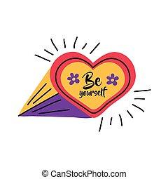 Girl power be yourself heart vector design