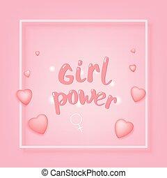 Girl Power card. Vector illustration.