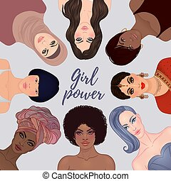 Girl Power. Female diverse faces of different ethnicity. Women empowerment movement. Isolated illustration in vector.