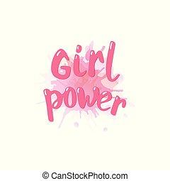 Girl power lettering card. Vector illustration.