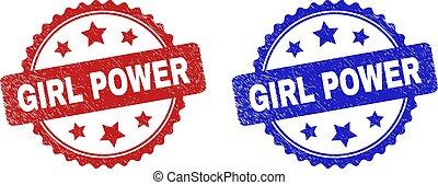 GIRL POWER Rosette Stamp Seals Using Distress Surface