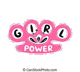 Girl Power slogan with brass knuckles