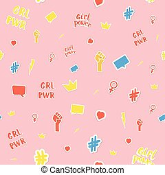 Girl power stickers seamless pattern card. Vector illustration.