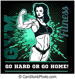 Girl Power. The Factory Girl with biceps. Woman Fitness