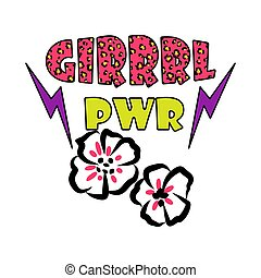 Girl power tshirt design vector.