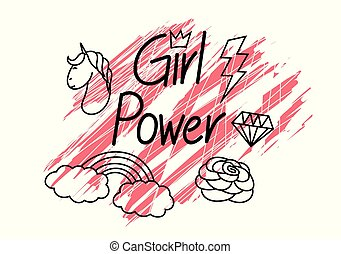 Girl power, with grunge background