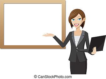 girl, présentation, ordinateur portable