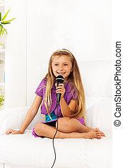 Girl practice singing