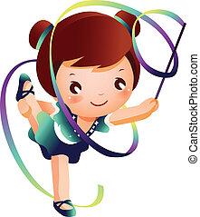 Girl practicing rhythmic gymnast performing with ribbon