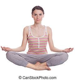Girl practicing yoga.