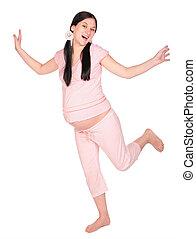 girl, pregnant, danse
