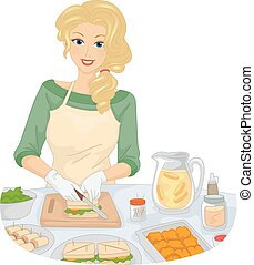 Illustration of a Girl Slicing Bread While Preparing Snacks