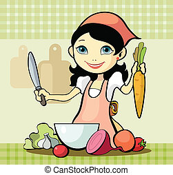 Vector illustration of a girl prepares a meal
