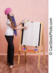 Girl preparing to paint a new masterpiece
