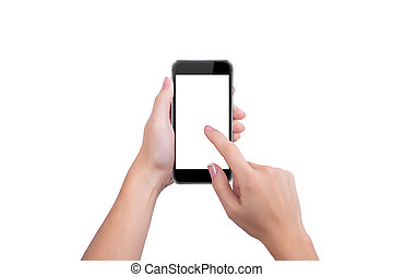 Girl presses the black phone screen finger of a hand