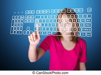Girl standing in front of virtual screen, pressing enter key on keyboard