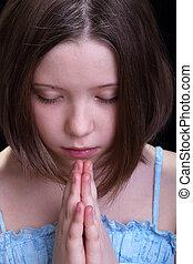 girl, prier, jeune
