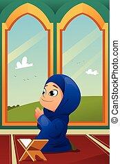 girl, prier, mosquée, musulman