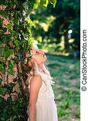 girl princess in white dress