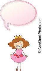 Girl princess with speech bubble