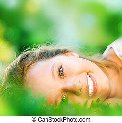 girl, printemps, herbe, vert